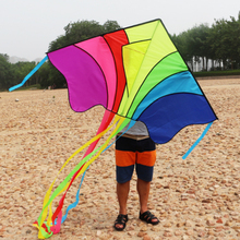 Rainbow Flying Kite Children Outdoor Sports Triangular Kite with Elegant Long Tail Good Flying Kite Kids Developement Toy Gift