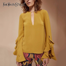 TWOTWINSTYLE Ruffles Women's Shirt V Neck Butterfly Sleeve Yellow Pullover Tops Autumn Female Plus Size Fashion Clothing New(China)