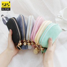 Fresh Solid Cute Coin Purse Zipper Flower Women Mini Wallet  Key Holder Bag Card Holder Clutch Money Bag  Luxury Brand Designer