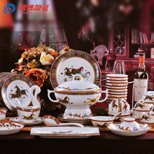 Western-style Luxurious 56 Pieces Bone China Tableware Set Royal Carriage Pattern Porcelain Dinner Set Wedding Gifts(China)