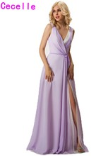 2017 Real Long Chiffon Beach Bridesmaid Dresses With Straps V Neck Lilac A-line Sexy Split Formal Wedding Party Bridesmaid Robes(China)