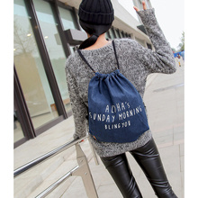 2016 Jeans Cloth Drawstring Backpack Vintage Printing Letters Durable Travel Bags For Men Women *35