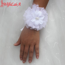 Wifelai-a New High Quality Pure White Flowers Wrist Flowers Bride Silk Ribbon Feather Hand Flower Wedding Decor SW0168(China)