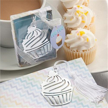 1Pc Cupcake Silver Bookmark For Baby Shower Baptism Wedding Souvenirs Party Christening Giveaway Gift Wedding Favors and Gifts(China)