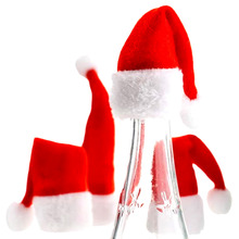 2Pcs New Year Christmas Santa Hat Cup Hat 10*5.5 cm Mini Santa Cover Christmas Gift XMas Wine Bottle Covers Decoration
