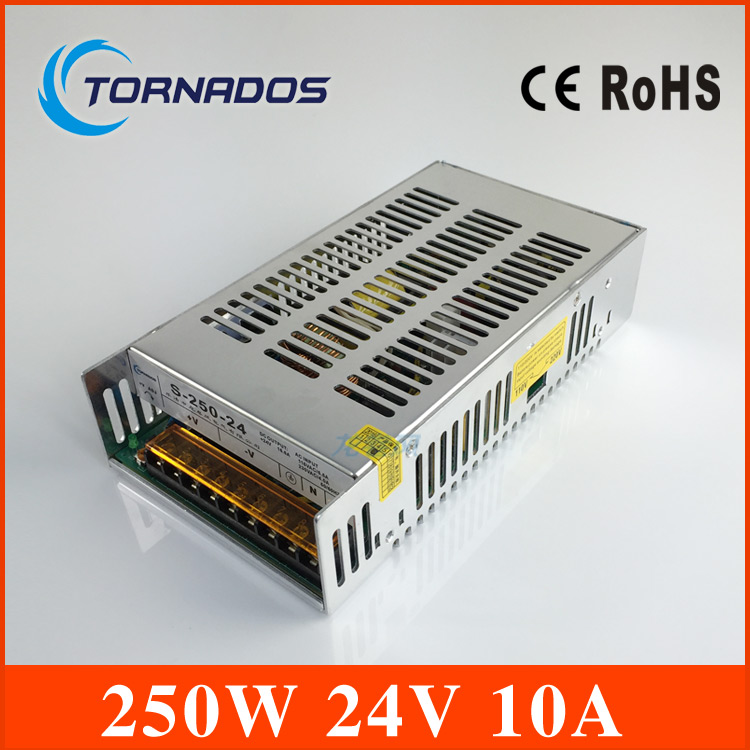 110v/220vac input professional 24v 240w switching power supply 24V 10A 240W S-250-24 CE approved<br>