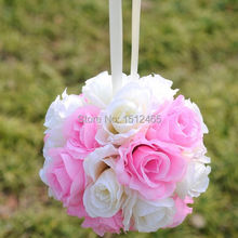 Free shipping, 20cm/8'' 2015 Ivory&pink Silk Rose Kissing Ball Flower Pomander Bouquet Flower Ball Wedding Party Favors HQ11