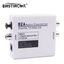 Digital to Analog Audio Converter Optical Coaxial Toslink Digital to Analog Audio Adapter RCA L/R 3.5mm with Optical Cable