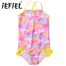 Child Kids Girls One-piece Sleeveless Tree Leaves Swimsuit Girls Clothes for Summer Surfing and Beaching Swimming Holiday Wear