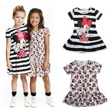 2016 fashion dress pretty kids baby girls cute  short sleeve dress summer cartoon dress vestidos  for 2-7Y kids