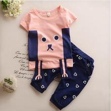 2-8Yrs Children Clothing Set 2017 New Casual Summer Kids Suits Cartoon Pattern Boys Clothes Short Sleeve Girls Clothes Outfits