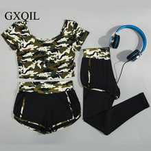 GXQIL Three Sets Camouflage Women Yoga Sports leggings Running T-shirt Vest Shorts Long Pants Gym Fitness Jogging Tops bras 2017