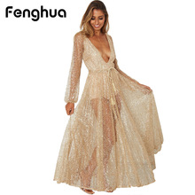Buy Fenghua Long Sequined Summer Dress Women 2018 Sexy V-Neck Maxi Beach Dess Elegant Wedding Evening Party Dresses Female vestidos for $15.67 in AliExpress store