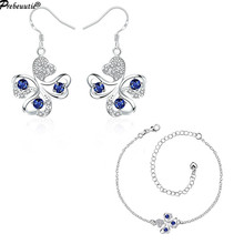 2017 unique design for European buyers!Copper blue zircon silver plated jewelry sets:earrings, anklet