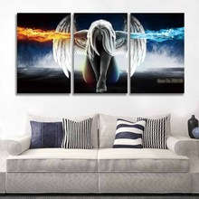 Printed 3 Panel Canvas Wall Art Angel Wings Painting Beautiful Anime Picture for Home Decor Living Room Bedroom Prints(China)