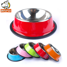 Stainless Steel Dog Bowl Pet Puppy Cat Dogs Food Drink Water Dish Feeder For Cat Puppy 5 Colors(China)
