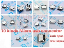 50pcs 5pcs each for 10 kind Micro USB 5Pin jack tail socket micro usb Connector port sockect for samsung Lenovo Huawei ZTE HTC(Hong Kong)
