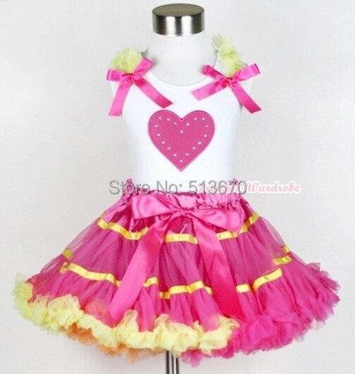 Hot Pink Yellow Rainbow Pettiskirt VALENTINE Hot Pink HEART White Top Set 1-8Y MAPSA0216<br>