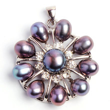 Free Shipping 7-8mm Pretty Natural Black Freshwater Pearl And Zircon Fashion Pendants Sterling Silver Frame w1182
