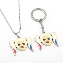 10pcs/lot wholesale Suicide Squad Keychain Car Phone Bag Charm Key Chain Harley Quinn Key Ring Holder Pendant Jewelry Souvenir