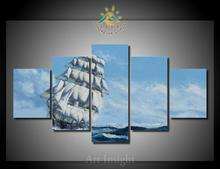 5 Pieces/set Limited Edition Sailing Ship Painting Modern Wall Art Pictures for Living Room(China)