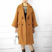 Plus size 3xl&4xl&5xl&6XL women woolen coat jacket brief design wide lapel double breasted midi length overcoat in black camel(China)