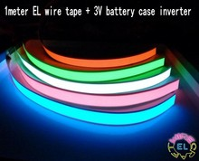 1m EL tape Flexible Neon Rope Light Glow EL Wire Cable  waterproof led strip light + 3V battery case for Shoes Clothing Car New