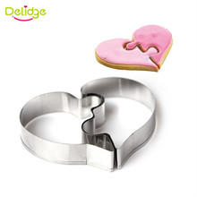 Delidge Love Puzzle Cookie Cutter 3D Stainless Steel Wedding Fondant Cake Decorating Tools DIY Pastry Biscuit Baking Molds