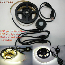 USB portable White/W-white LED Strip Lights SMD2835 Flexible Motion(day/night choose) LED Sensor Strip Light For Bedroom Stairs(China)