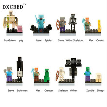 Single Sale Minecrafted Style mini Zombie Steve figure DIY Building Blocks Toys Compatible Minecrafted Model Bricks Gift
