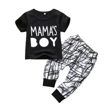 Summer Newborn Baby Boys Clothes MAMA'S BOY Short Sleeve T-Shirt Tops Casual Pants Infant Baby Clothing Outfits Set(China)