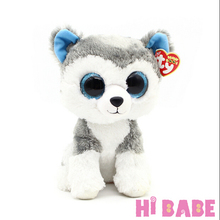1pcs 18cm 2015 Hot Sale Ty Beanie Boos Big Eyes Husky Dog Plush Toy Doll Stuffed Animal Cute Plush Toy Kids Toy