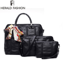 Herald Fashion 2017 Composite Bag Women Top-Handle Bags 3Pcs/Set Casual Messenger Bag Woven Shoulder Bag Summer Crossbody Bag