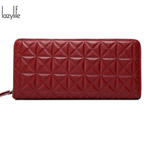 LAZYLIFE Fashion Cellphone Wallet for Women Wallet Brand Long Design Women Wallets  Genuine Leather Female Purse Clutch Bag