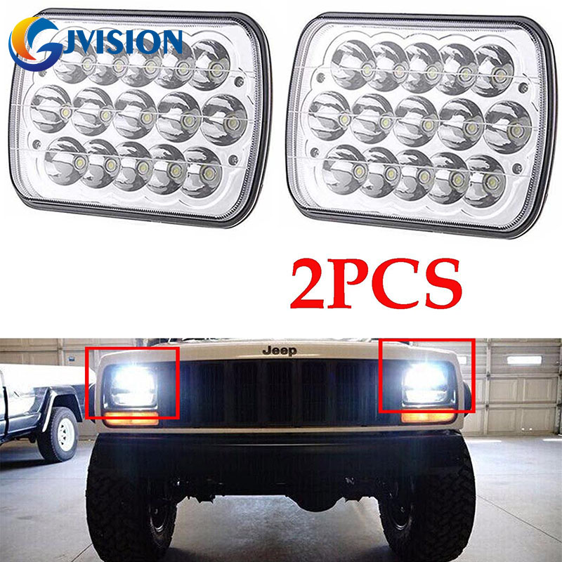 2PCS Crystal Clear 5x7 7x6 INCH LED Headlight H6014/6052/6054 High/Low beam Offroad lights for Trucks Jeep Wrangler JK YJ<br>