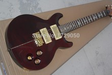 Colorized Shells Inlay Santana LTD Tiger Flame Maple 24 Frets Wine red 6 Strings Electric Guitar Free Shipping(China)