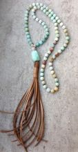 YA2335 Amazonite Faceted Chunky Beads Leather Tassel Handmade Necklace 30inch