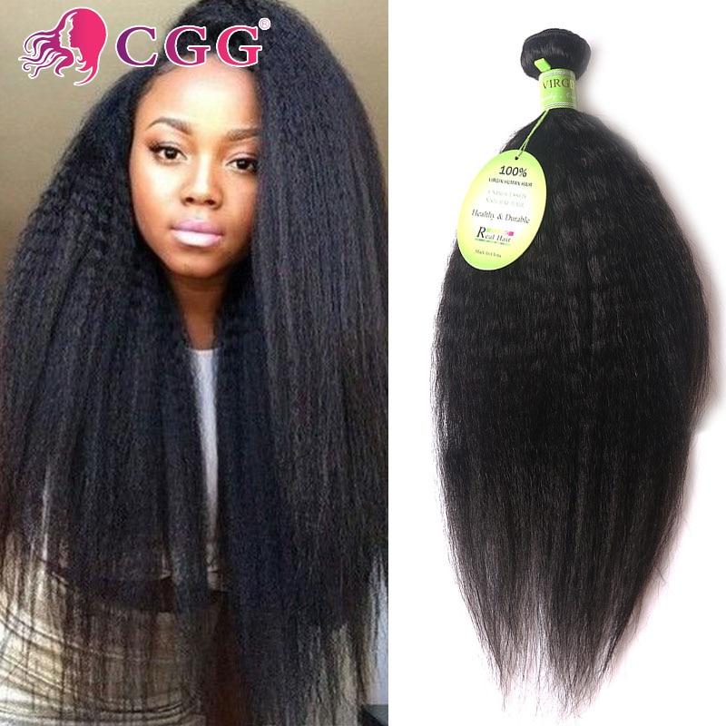 7A Kinky Straight Hair Yaki Human Hair Extensions 3 Bundles Peruvian Virgin Hair Unprocessed Virgin Kinky Straight Hair Weave<br><br>Aliexpress