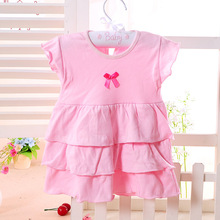 Summer infant princess dress baby girls cake dress pleated doll clothing Kids dress for 0-2T aTST0011(China)