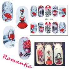 1 Sheets Beautiful Romantic Sticker Red Skirt Girl Nail Art Designs Manicure Water Transfer Decals Tips Manicure CHSTZ511-512(China)