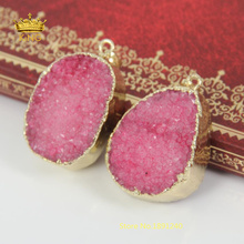 Hot ! Red Druzy Quartz Pendant Bead Plated Gold Freeform Shape Hot Geode Stone for DIY Jewelry Gift Women EF04(China)