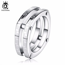 ORSA JEWELS Classic Lead & Nickel Free 316L Stainless Steel Irregular Men Ring Screw Lock Rings Hot Party Jewelry GTR13