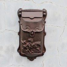 Cast Iron Mailbox Postbox Mail Box Wall Mount Metal Post Letters Box Garden Yard Patio Lawn Outdoor Art(China)