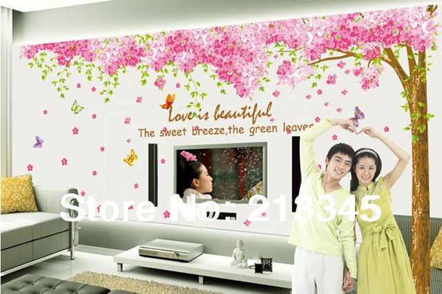 [Fundecor] 3pc new products large romantic pink sakura wall stickers mural home decor cherry blossoms tree wall decal(China (Mainland))