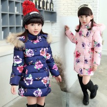 2017 winter girl jacket teenage girl with hat print cotton girl clothing thicker fashion casual dress 5 6 7 8 9 10 11 13 years 7