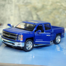 Brand New KT 1/46 Scale Chevrolet Silverado Pickup Truck Diecast Metal Pull Back Car Model Toy For Gift/Kids/Collection