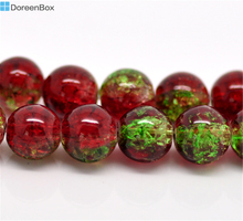 Doreen Box hot-  Red & Green Crackle Glass Round Loose Beads 10mm Dia. 80cm, sold per lot of 2 strands (B16803)