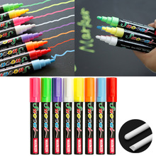 8 Color/Set Erasable Liquid Chalk Highlighter Fluorescent Neon Marker Pen LED Writing Board Glass Window Art Supplier 2 Styles
