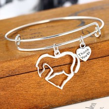 Horse Heart Bracelets Love Family Bracelet Souvenirs Friend Bangle Women Wedding Bride Party Jewelry Silver Plated Lover Charm