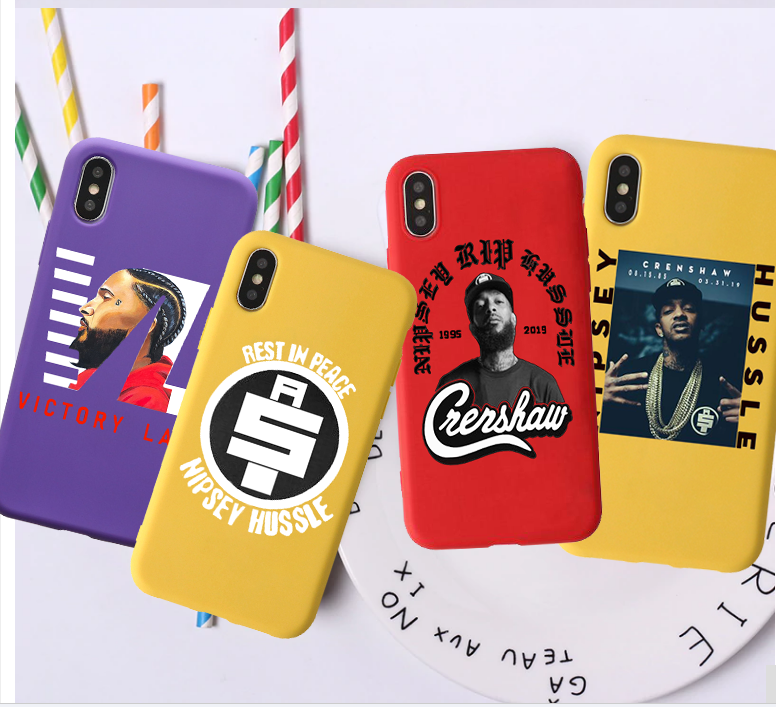 Rapper Nipsey Hussle Candy Color TPU Case phone For iphoneX 7 8 XS XR XSMAX Red Black Yellow purple White Cover